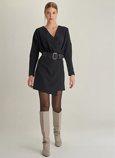 Ng Style Kruvaze Yakalı Yarasa Kol Elbise Siyah